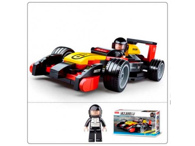 """Конструктор SLUBAN """"Автоклуб. Машинка Формула1"""" 120 деталей"""