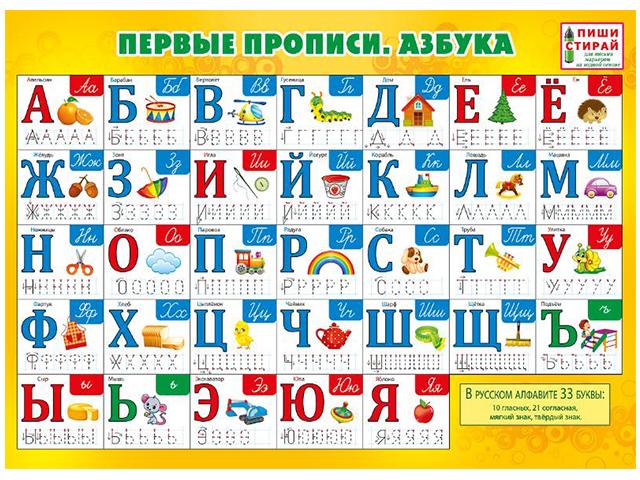 """Плакат """"пиши-стирай"""" А4 """"Первые прописи. Азбука"""""""
