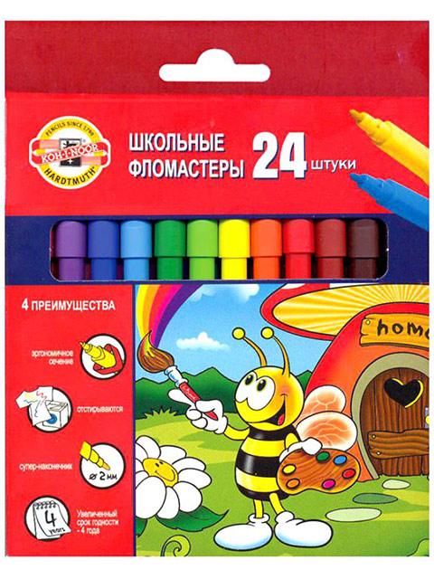 "Фломастеры KOH-I-NOOR ""Пчелка"" 24 цвета, картон. упак., европодвес"