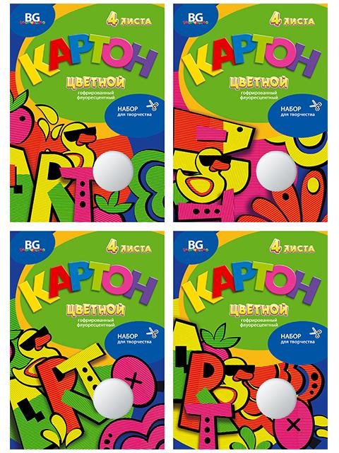 """Гофрокартон цветной А4 4 листа 4 цвета БиДжи """"ART Duck"""" флуоресцентный, в папке"""