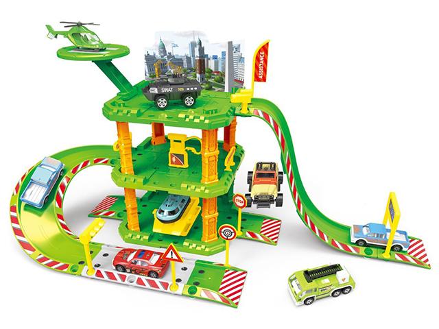 """Игровой набор """"Парковка. Городская станция"""" с вертолетом и вездеходом"""
