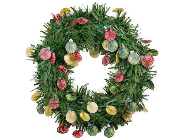 """Новогоднее украшение """"Венок зеленый с елочными шарами"""" d-40см, пластик"""