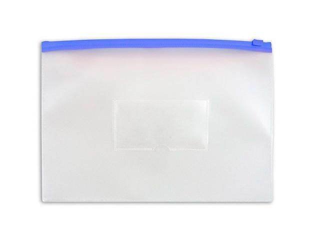 Папка-конверт на молнии А5 Бюрократ 0,15 мм прозрачная, синяя молния, карман