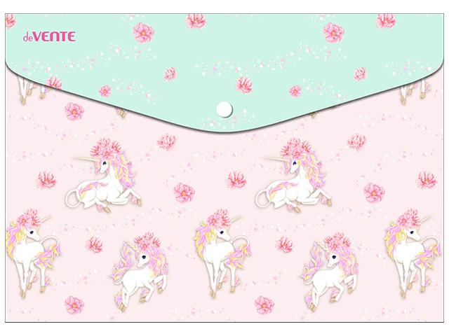 "Папка-конверт на кнопке А5 deVENTE ""Unicorn"" 150мк, непрозрачная с рисунком"
