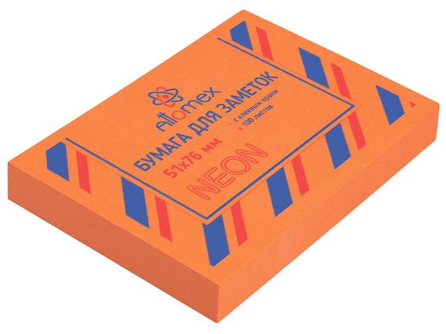 Блок для записей с клеевым краем Attomex 51х76 мм 100 листов, неоновый оранжевый