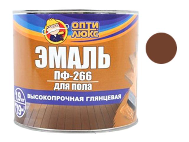 """Эмаль ПФ-266 """"Оптилюкс"""" 1,9кг, красно-коричневая"""