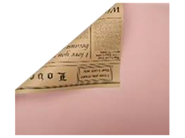 """Пленка упаковочная флористическая """"Газета"""" 58см х 10м (50 мкр), розовый/бурый"""
