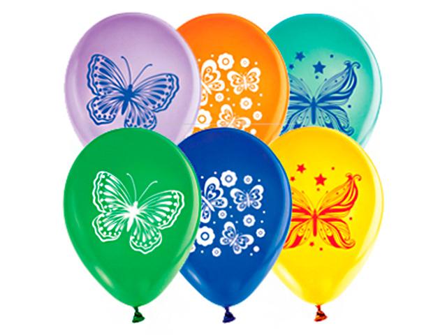 """Шар 12"""" с рисунком """"Бабочки"""" 50 штук в упаковке"""