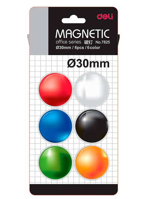 """Набор магнитов для доски """"DELI"""" 6шт. 30мм. цв.ассорти в блистере"""