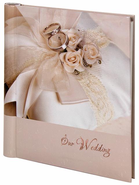 """Фотоальбом магнитный 20 листов Brauberg """"Наша свадьба"""" 23х28 см, пластиковые кольца"""