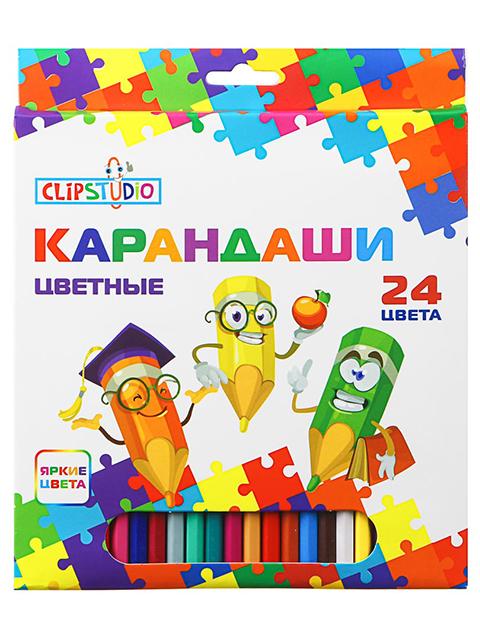 Карандаши цветные ClipStudio 24 цветов, заточенные, шестигранные,пластик, картонная упаковка, европодвес