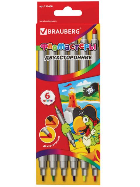 Фломастеры BRAUBERG, 6 цветов, двухсторонние, 2 пишущих узла 2 и 5 мм, картонная упаковка