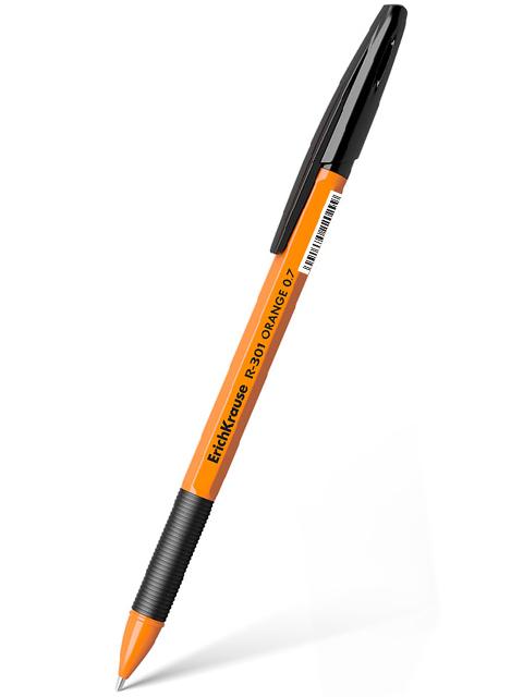 """Ручка шариковая Erich Krause """"R-301 Orange"""" 0,7 мм, корпус пластиковый оранжевый, черная"""