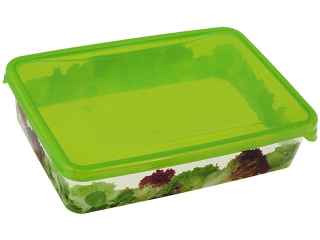 """Емкость для хранения и заморозки продуктов """"Браво"""" 0,9л с декором прямоуголная"""