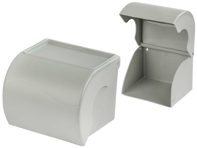 Держатель для туалетной бумаги с полкой, серый