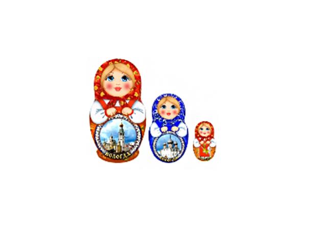 """Магнит """"Вологда"""" дерево (Г56/068) матрешка"""