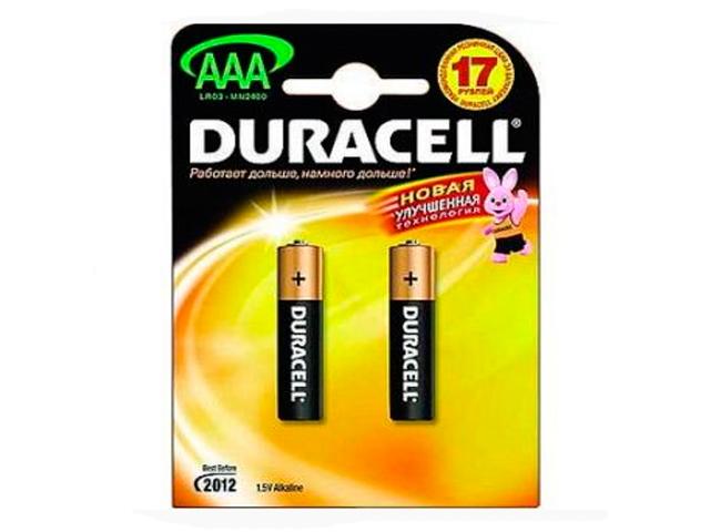 Батарейка щелочная (мизинчиковая) Duracell NEW LR03 (2 шт) блистер, кор. (10 уп)
