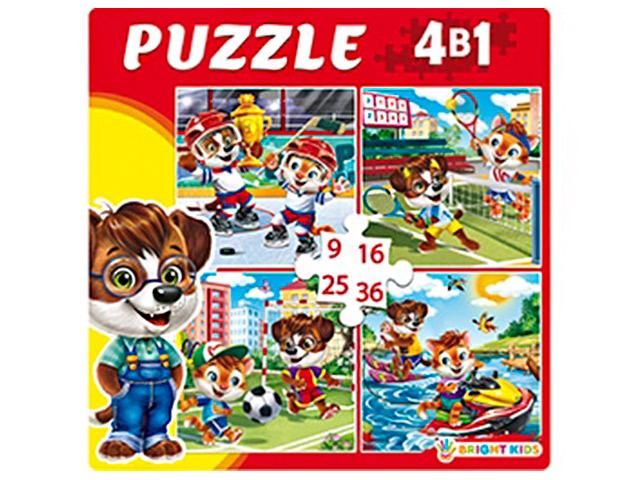 """Пазлы 4 в 1, 150х150 Рыжий кот """"Bright kids. Веселые приключения"""", 9, 16, 25, 36 элементов"""
