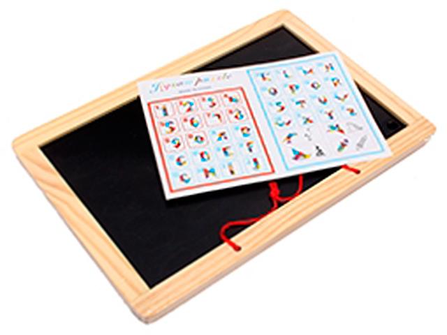 Доска магнитно-маркерно-меловая, 30х20 см, настольная, двустороняя, в наборе с маркером, губкой и мелом, деревянная