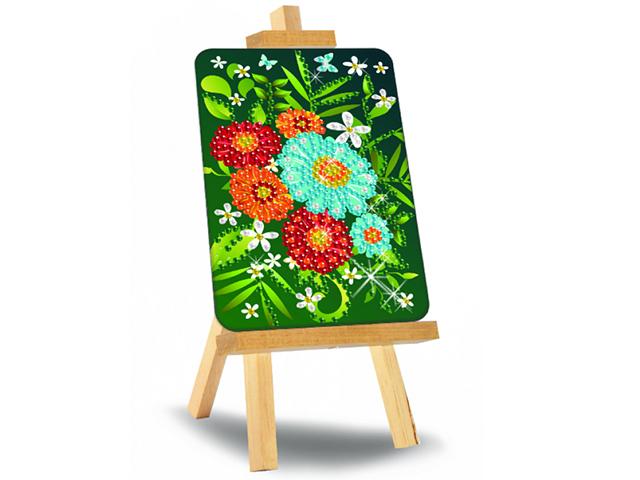 """Алмазная мозаика """"Цветы"""" 10х15 см, с мольбертом"""