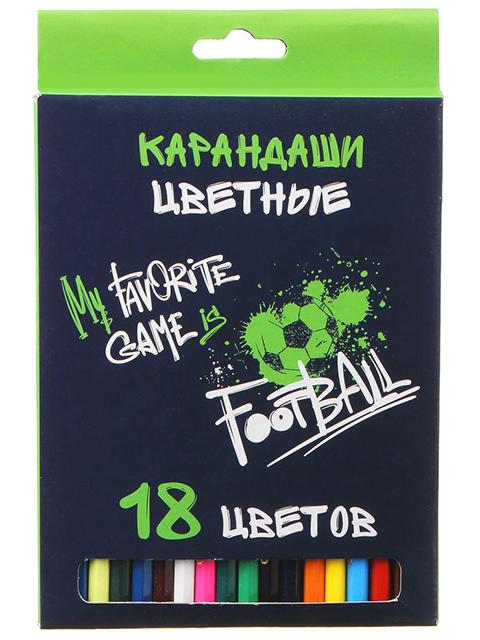 """Карандаши цветные """"My favorite game is football"""" 18 цветов, деревянные, шестигранные, картонная упаковка, европодвес"""