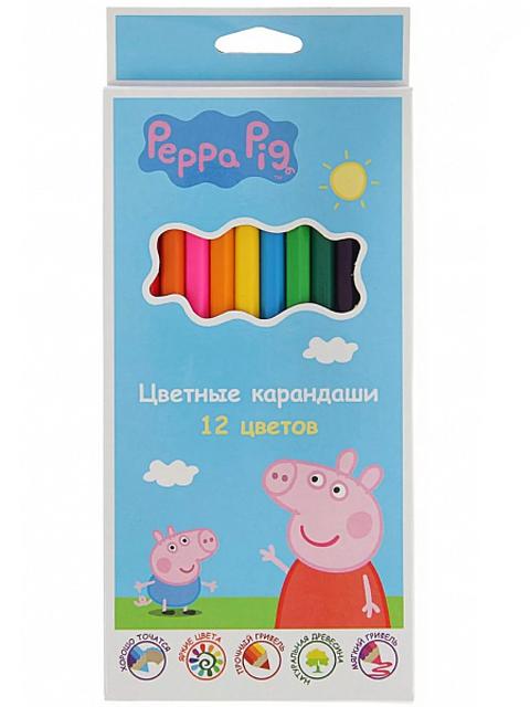 """Карандаши цветные Росмэн """"Peppa Pig"""" 12 цветов, картон. упак."""