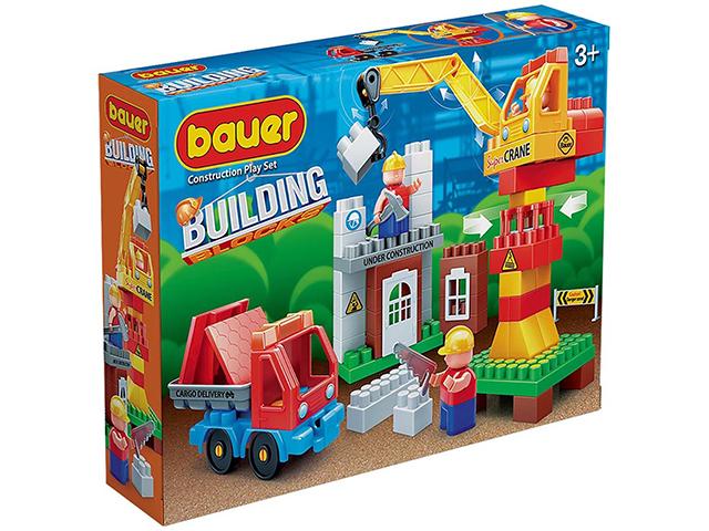 """Конструктор Bauer """"Строительная площадка с краном и грузовиком"""" 96 деталей"""