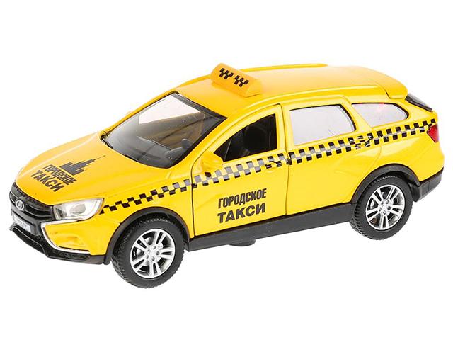 """Игрушка """"Технопарк. Машина LADA VESTA SW CROSS Такси"""" металл, инерционная, открывающиеся двери и багажник"""