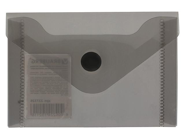 Папка-конверт с кнопкой BRAUBERG, А7, 74х105 мм, черная, 227326