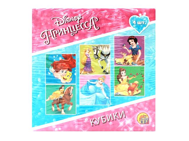 """Кубики Рыжий кот """"Disney. Принцессы-2"""" 4 шт пластиковые"""