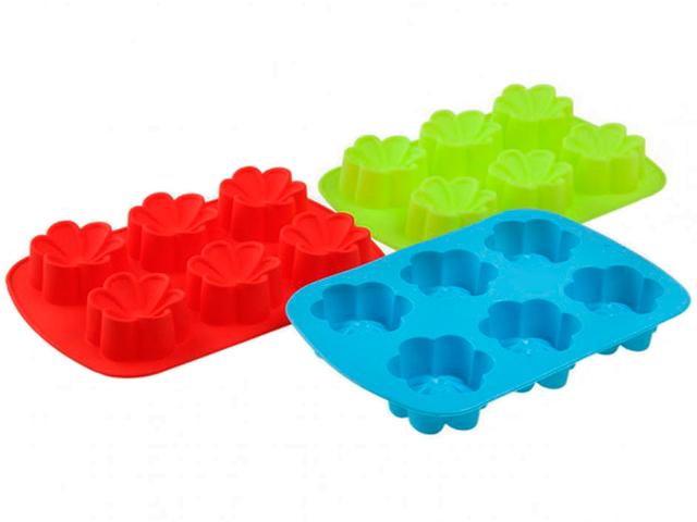 """Форма для выпечки """"Цветы, Незабудка"""" силиконовая, 6 ячеек, 25х17х4см, цвет микс"""