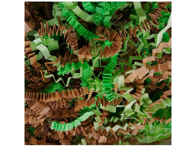 """Наполнитель бумажный """"23 февраля"""" микс, зеленый интенсив + крафт коричневый + салатовый пастель, 100гр"""