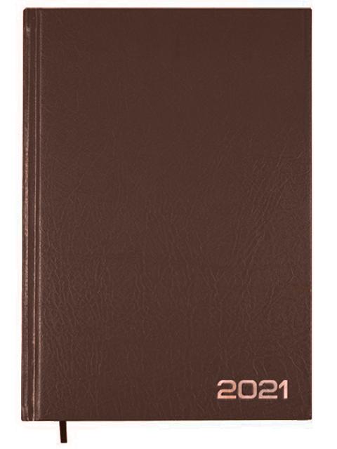 Ежедневник датированный 2021, А5, Attomex 176 листов обл. бумвинил, коричневый