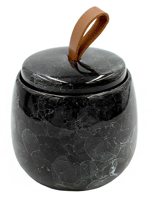 """Баночка для ватных дисков """"PIETRA"""" black, 9,6х7,5см, керамика"""