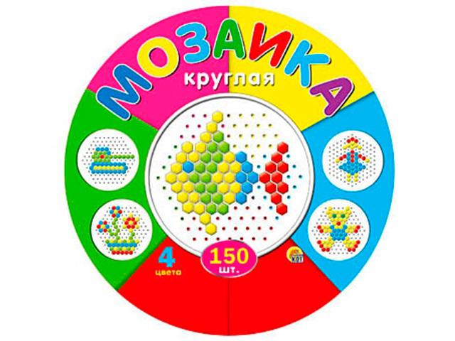 Мозаика 150 шт, d-13 мм, 4 цвета, шестигранные фишки, в пластиковой упаковке