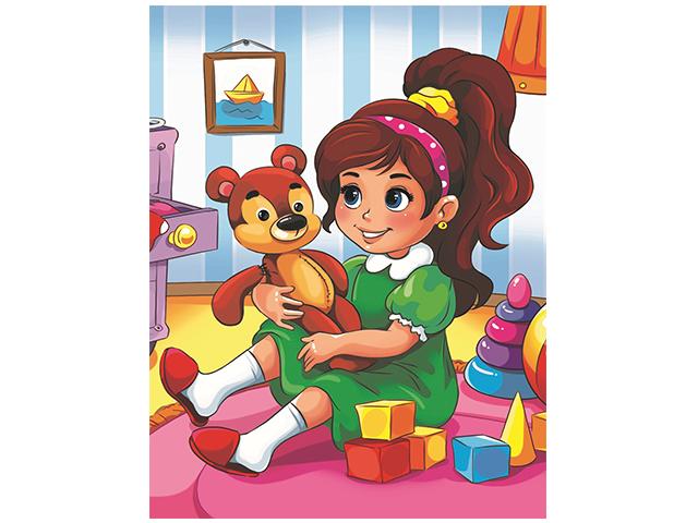 "Набор для детского творчества ""Холст с красками. Девочка и мишка"" 17х22 см"