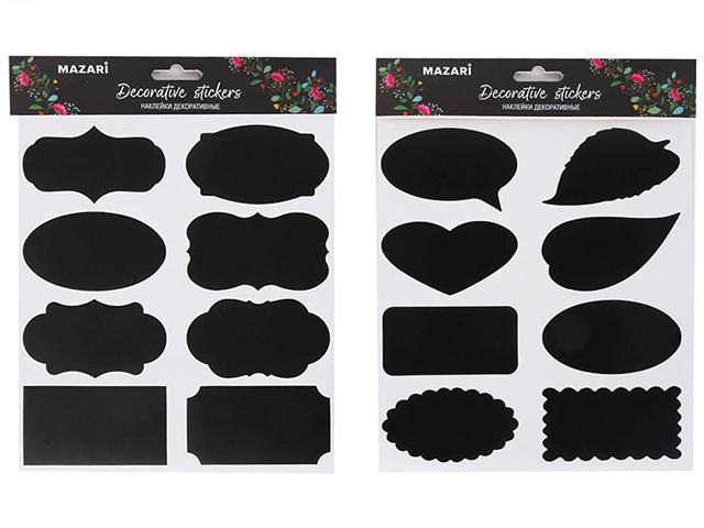 """Набор наклеек декоративных Mazari """"IN BLACK"""" 19,5 x 21,6 см, ПВХ, 3 листа в комплекте, ассорти 4 дизайна, ОПП-упаковка"""