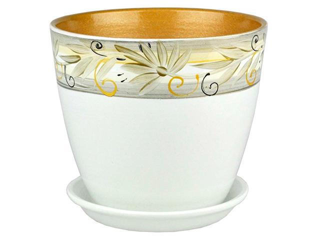 """Горшок для цветов """"Бутон"""" Регина 18см (с поддоном) , керамика"""