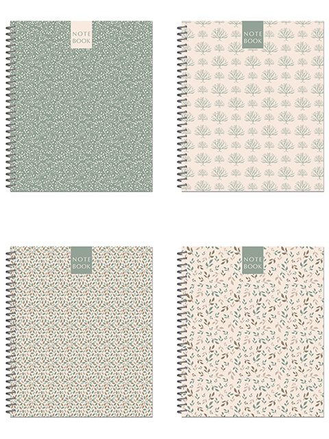 "Тетрадь А5 96 листов клетка Полином ""Green&Brown Pattern"" на гребне"