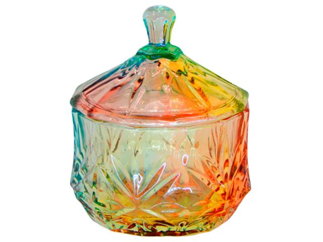 """Сахарница с крышкой """"Радуга"""" 9,5х11,3см, в подарочной упаковке, стекло"""