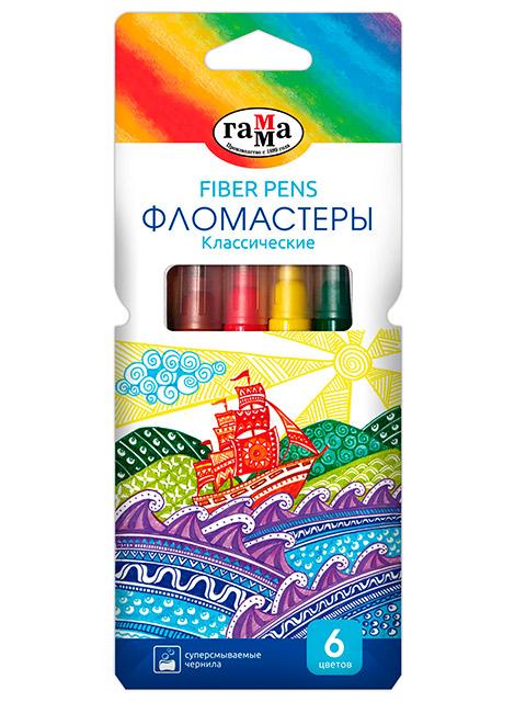 """Фломастеры Гамма """"Классические"""" 6 цветов, смываемые, в картонной упаковке с подвесом"""