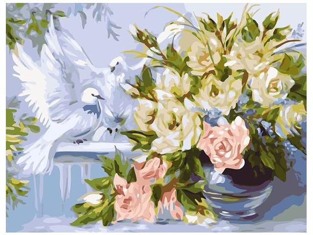"Картина по номерам Colibri ""Цветы и голуби"" 40*50см"