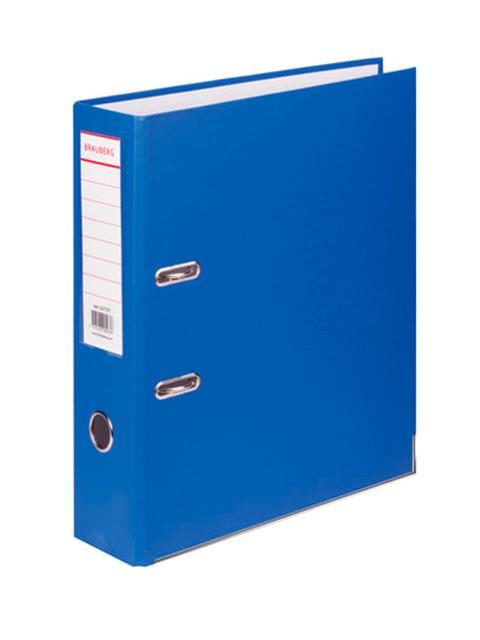 Папка-регистратор BRAUBERG с покрытием из ПВХ, 80 мм, с уголком, синяя (удвоеннный срок службы), 227191