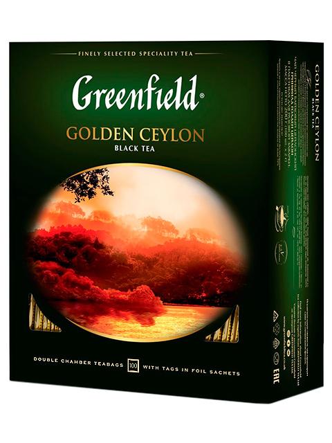 Чай Greenfield черный в пакетиках с ярлыками 2 г 100 штук Golden Ceylon, в пакете