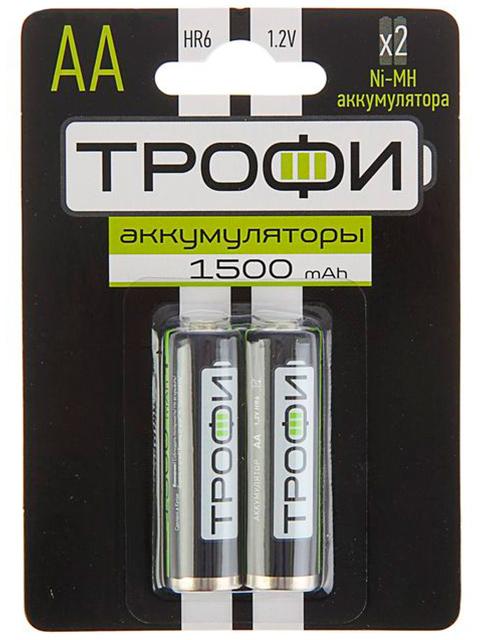 Батарейка аккумуляторная (пальчиковая) Трофи HR6-2BL, 1500 mAh, 2 шт, кор. (10 уп)