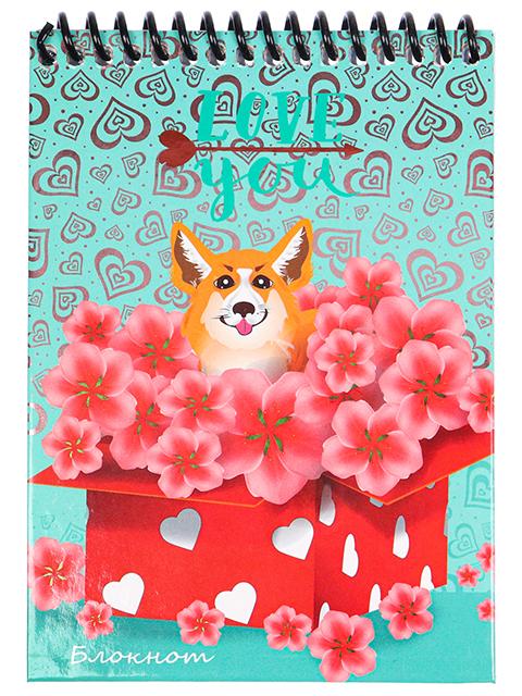 """Блокнот А6 48 листов клетка Проф-Пресс """"Собачка в подарок"""" на цветной спирали"""