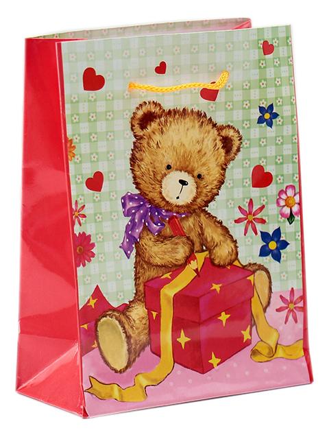 """Пакет подарочный бумажный 12х15х5 """"Плюшевый подарочек"""" ламинированный"""