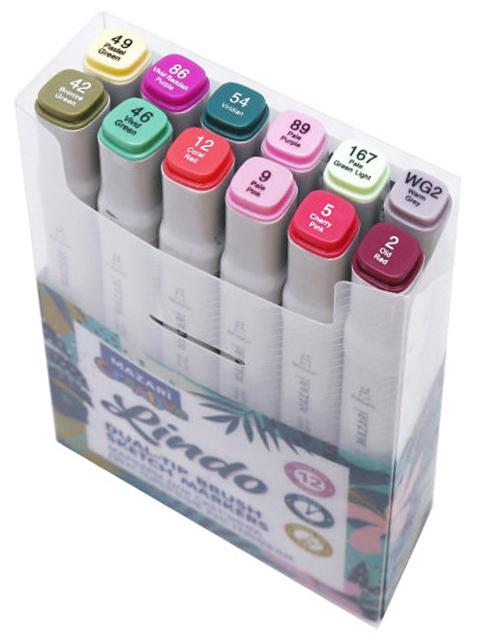 """Набор маркеров для скетчинга Mazari """"Lindo"""", 1-7 мм, двусторонние, 12 цветов (цветочные тона)"""