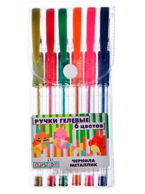 """Набор гелевых ручек """"ClipStudio"""" 6 цветов, 0.7 мм, металлик, ПВХ упаковка"""