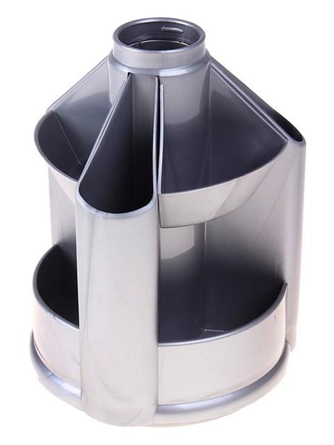 """Подставка-органайзер СТАММ """"Mini Desk"""" для канц. принадлежностей вращающаяся, серый металлик"""